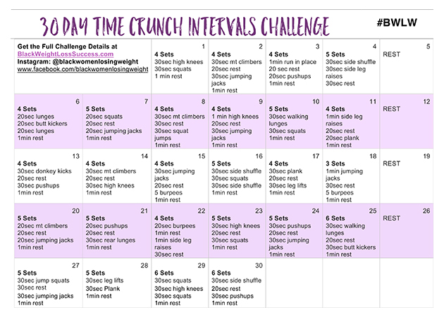 30 Day Time Crunch Intervals Challenge | Black Weight Loss Success